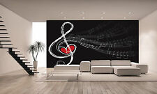 Treble Love and Music Notes Wall Mural Photo Wallpaper GIANT DECOR Paper Poster