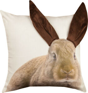 3D Adorable Brown Bunny Ears Easter Bunny Rabbit Pillow