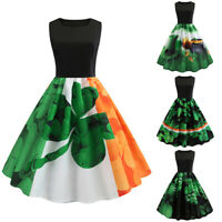 Womens 50s Vintage Style Pinup Swing Pleated Party Rockabilly Casual Work Dress
