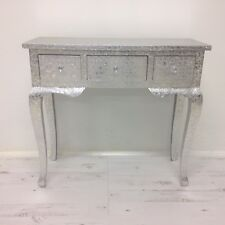 Silver Metal Embossed 3 Drawer Dressing Console Hall Table Desk