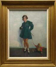 HARRY JOHN PEARSON ORIGINAL ANTIQUE PORTRAIT OIL PAINTING, GIRL WITH TEDDY BEAR.