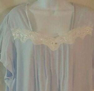 Villager Womens Nightgown Plus Size 2X Cotton Blend Short Sleeve Blue Mid Calf