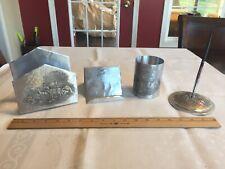Wendell August Forge Aluminum Deer Scene 4 Pc Desk Set Male Christmas Gift