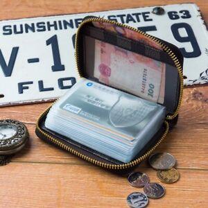 Multiple Slot Credit Card Holder RDIF Block Zip Closure Leather Wallet Unisex