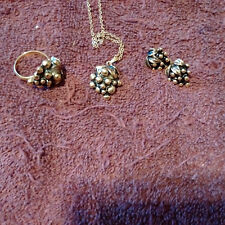 Vintage Sara Coventry Black/Gold Grapes Necklace, Ring & Earrings Set