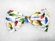 (1) PRE-TIED BOW TIE - CHRISTMAS MEMORIES! COLORFUL CHRISTMAS LIGHTS ON WHITE