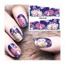 Nail Art Water Decals Stickers Transfers Deep Purple Pink Flowers Gel Polish