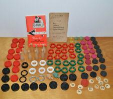 VINTAGE CARROM WOODEN & PLASTIC GAME PARTS PIECES LOT INSTRUCTION MANUALS 1901
