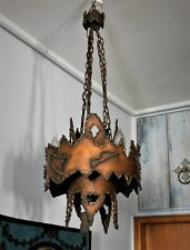 ANTIQUE VINTAGE GOTHIC CHANDELIER COPPER PLATED HANDMADE IRON WORK 3 LIGHT