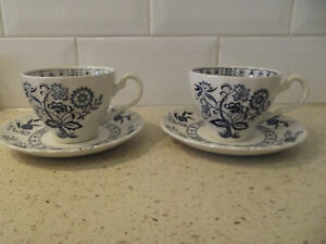 Vintage Johnson Brothers Blue Nordic Onion Set of Two Cups and Saucers England