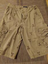 Cherokee Khaki Cargo Shorts Boy's Sz 16 Adjust Waist Totem & Crossbone Graphic