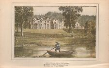 1890 ANTIQUE COLOURED PRINT SCOTLAND ABBOTSFORD FROM THE TWEED