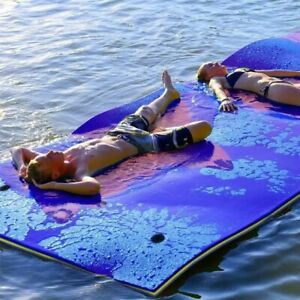 3-Layer Floating Water Pad 5.10' x1.9' Floating Oasis Foam Mat for Relaxing Blue