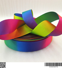 1 METRE RAINBOW DOUBLE SIDED RIBBON SIZE INCH BOWS HEADBANDS HAIR CLIPS CAKE