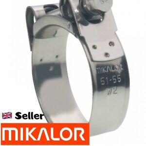 MIKALOR W2 Stainless Steel Hose Clamps Supra Exhaust T Bolt Marine Clip clamp