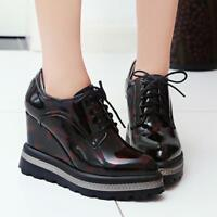Womens Shiny lace up Pointed Toe Wedge Heel Ankle Boots Sneakers Platform Oxford