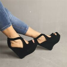 Ladies Platforms Wedge Heels Gladiator Sandals Hollow Out Faux Suede Shoes Size