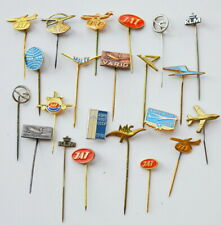 VINTAGE OLD AIRLINES AIRPLANE FLUG AVIATION PIN BADGE-Lot of 22