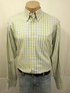 SØR SÖR SOER Designer Hemd KW42 16,5 Button-Down Kragen Baumwolle Blau Gelb Weiß
