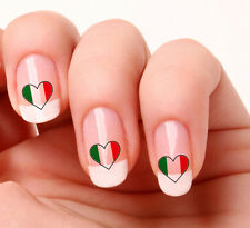 20 Nail Art Decals Transfers Stickers #279 - Italian Flag Heart Italy