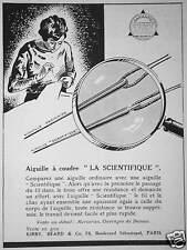 PUBLICITÉ 1933 AIGUILLE À COUDRE LA SCIENTIFIQUE KIRBY BEARD & Co