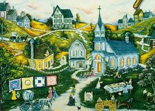 "Ann Stookey ""THE PICNIC"" Americana Town Quilts Church BOXLESS Jigsaw Puzzle *NEW"
