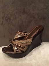 Bakers platform Wedges Slides Mules Sandals leather Beige Size 9 39