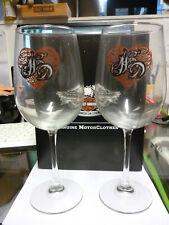 More details for harley davidson scroll heart wine glasses - set of 2 - 96864-16v