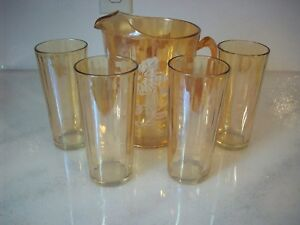 VINTAGE GOLD IRIDESCENT JEANNETTE PITCHER WHITE FLOWERS/ 4 GLASSES