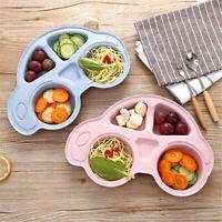 KIDS DINNER PLATE DIVIDED DISH TRAY DESSERT BABY FOOD FEEDING TABLEWARE FUNNY