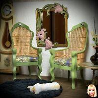 Dollhouse miniature Victorian rattan green chair - 1:6 Barbie scale