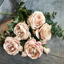 Bunch of Antique Pink Roses & Eucalyptus, Realistic Artificial Faux Silk Flowers