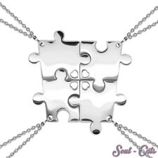 Puzzle Kettenanhänger 4 Teile mit Ketten Edelstahl Freunde Familie silber