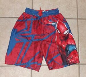 Boys Small 7 / 8 Red & Blue SPIDERMAN Beach Pool Swim Board Shorts MARVEL