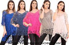 NEW LADIES ITALIAN LAGENLOOK LACE CROCHET MESH TUNIC TOP VEST TWIN SET Size 8-22