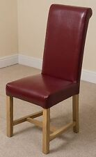 Washington Braced Scroll Back Red Leather Dining Room Kitchen Chairs