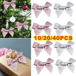 40PCS Christmas Tree Decoration Mni Glittered Bows Gift Xmas Party Glitter Decor