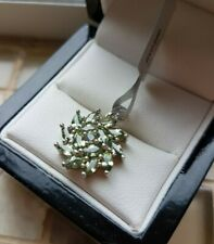 925 STERLING SILVER WOMENS GREEN SAPPHIRE CLUSTER PENDANT - NEW - GEMS TV
