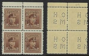Scott O250-A: 2c KGVI War Issue top row block with TYPE 2 4-Hole OHMS Perfin NH