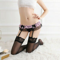 Lace Lingerie Thigh-Highs Stockings Set Suspenders Womens Belt Suspender Garter