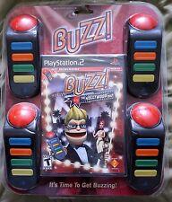 Buzz The Hollywood Quiz Bundle (Sony PlayStation 2,PS2)w/4 Buzzers SEALED NEW