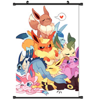 "Hot Japan Anime Pokemon Eevee Monster Home Decor Poster Wall Scroll 8""x12"" FL915"