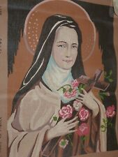 St Therese of Lisieux Religion Catholic Vtg Needlepoint Canvas France European