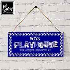 G021 Boys playhouse/ den sign, footballs, no girls allowed blue