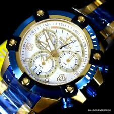 Invicta Reserve Swiss Made Octane Blue Gold Plated Steel Chrono 48mm Watch New
