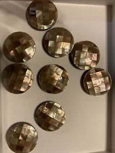 """9 Vintage Mother of Pearl/Abalone Shell 1"""" Round Buttons Shank"""