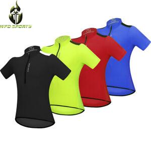 Mens Cycling Jersey Half Zip Short Sleeve Shirts Breathable MTB Bike Riding Tops
