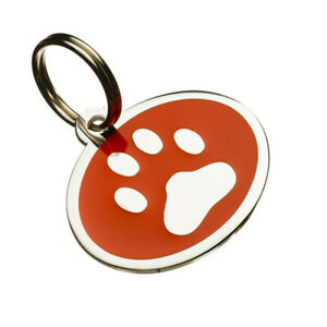 Personalised Engraved Medium Enamel Paw Print Pet Id Tags