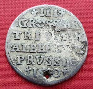 Duchy Of Prussia Old Silver Coin ,3 Groscher 1540 ,ALBRECHT , VF , 2,4g , Rare