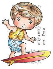 SURFING LUKA-La-La Land Crafts Cling Mount Rubber Stamp-Stamping-Surfer